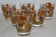 6 Culver Low Ball Tumbler Gold SeaShell Drinking Glasses Mid Century VTG 50s/60s