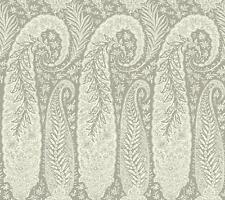 Wallpaper Designer Large Gray and Eggshell White Paisley