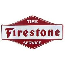 "11"" Red & White FIRESTONE Tire Service TIN SIGN EMBOSSED VINTAGE LOOK. AUTOSHOP"