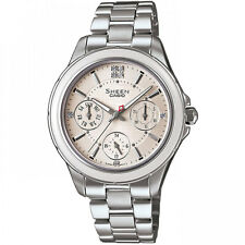 Donna Casio Sheen Acciaio Inox data e ora Watch she-3508d -7 Auer