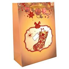 3 x Small Luxurious Christmas Gift Bags Decorative with Glitter Paper Bag