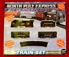 New North Pole Express Train 18 PC SET 3 CARS 14 PIECE OVAL TRACK XMAS PRIORITY*