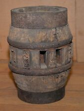 Antique wagon wheel hub wood metal banded blacksmith made collectible early