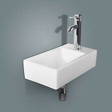 Bathroom Rectangle Ceramic Vessel Sink Wall Mount Vanity Basin w/ Chrome Faucet