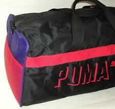Vintage 90s Puma Gym Bag Duffel Workout Travel Black Purple Red Mesh Side Pocket