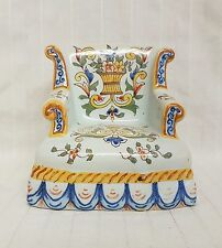 Antique French Faience Victorian nursing Chair for dollhouse signed