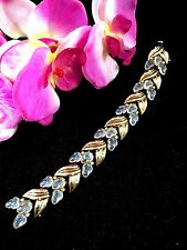 1948 CROWN TRIFARI GOLD-TONE SPANGLE RHINESTONE MOONSTONE FRUIT SALAD BRACELET