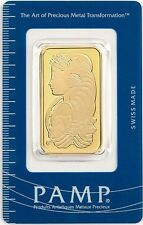 Five (5) 1 oz PAMP Suisse Gold bars - new in assay cards - FREE shipping