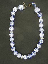 VINTAGE 50's JAPANESE BLUE & WHITE GLASS BEADS NECKLACE CHOKER ~ 9""