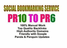 SEO Manual Submission 30 PR10 to PR6 permanent social bookmarks backlinks