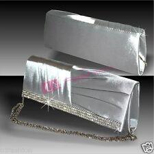 Forma De Corazón Plata Cristal Diamante Pedrería Fiesta Damas De Noche Bolsa De Embrague