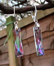 925 STERLING SILVER EARRINGS WITH SWAROVSKI  Crystal PS 25mm Queen Baguette