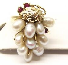 Vtg 14K Gold Ruby Rice Pearl Cluster Ring Sz 6.75 Grape Leaf Bunch Estate