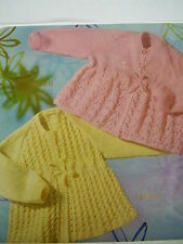 BABY MATINEE JACKETS 2DESIGNS   KNITTED IN 4,  PLY 3/6 MONTHS    PATTERN. ONLY