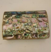 Abalone Silver Trinket Box Rose Wood Lining Mother of Pearl Alpaca Mexico