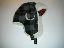 Woolrich grey plaid Trapper bomber Cap Hat faux fur lined large New