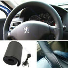 DIY Car Steering Wheel Leather Cover With Needles and Thread Black NEW