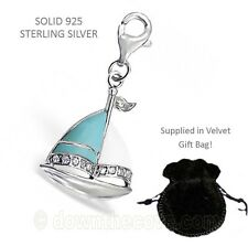 Silver Boat Charm - Solid 925 Sterling Silver Charm in Gift Bag - Lobster Clasp