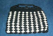Crocheted Evening Purse Black and Ivory Shell Pattern Black Handle ca.1930's