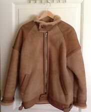 Sawyer of Napa for Saks Fifth Avenue Brown Shearling Bomber Jacket Sz 42