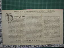 1892 PRINT FACSIMILE CONVOCATION CLERGY ARTICLES OF FAITH HENRY VIII REFORMATION