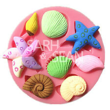 M0702 sea starfish snail conch shell fondant cake mold chocolate mould