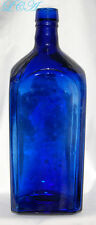 ANTIQUE deep COBALT BLUE square BITTERS of GIN BOTTLE = Rarely found in COBALT