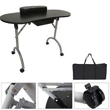 BLACK FOLDABLE PORTABLE MOBILE MANICURE NAIL ART TABLE TECHNICIAN DESK STATION