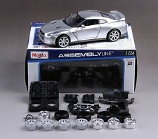 Maisto 1:24 Nissan GTR Diecast Assembly DIY Model Car Vehicle Toy Silver New