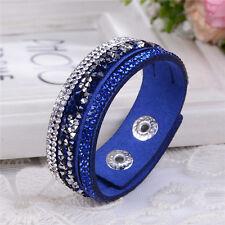 Bracciale in cuoio elegante placherai realizzati con cristalli Swarovski-Blu