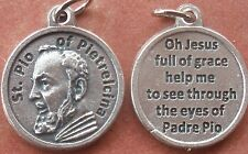 "Saint St. Padre Pio of Pietrelcina Medal Charm 3/4"" + Prayer to Jesus on back"