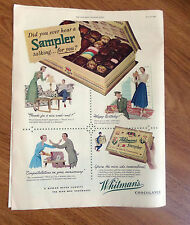 1950  Whitman's Chocolates Candy  Sampler Ad