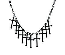 Black Gothic Hanging Crosses Necklace Punk Metal Occult Alternative Grunge