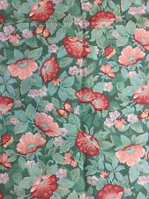 1.75 yds green ivy flower lily ginko butterfly spring summer cotton fabric peach