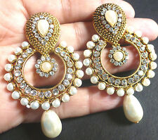 Indian Gold Plated Pearl CZ Drop Kundan Round Earrings Wedding White Jhumka Set