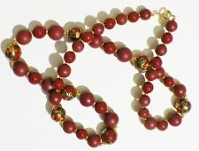 collier bijou style vintage grande taille perle grenat floral style asiatique C1