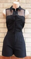 TOPSHOP BLACK ALL BUTTONED MESH INSERTED T SHIRT TAILORED PLAYSUIT ALL IN ONE 6
