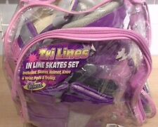 Pink Tri Line Skates Set With Elbow And Knee Pads In Carry Case Size 11-1