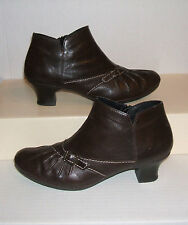 RIEKER Womens Dark Brown Leather Zip Ankle Dress Fashion Boots Size 39 EU / 8 US