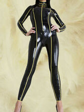 Latex Rubber Full-body Catsuit Black and Yellow Tights Suit Bodysuit Size XS-XXL