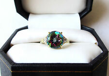 10k Yellow Gold 10mm Round Mystic Topaz/Diamond Accent Ring. Sz 6.25. TCW. 3.60.