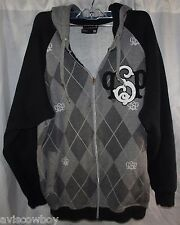 Southpole Black Gray Full Zip Baggy Hoodie Hoody Sweatshirt Men's M