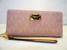 MICHAEL KORS JET SET PVC TRAVEL CONTINENTAL TRAVEL WALLET WRISTLET 168.00 PINK