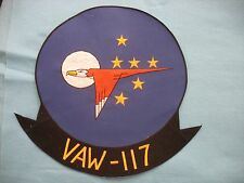 Unused vintage US Navy VAW-117 huge 15 inch jacket size squadron patch.