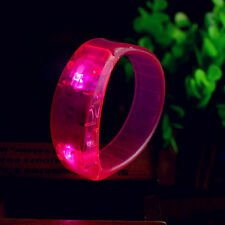 Sound Voice Activated Music LED Light Wristband Bracelet Bangle Party Outdoor #p