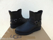 UGG GLEN BLACK LEATHER/ SHEEPSKIN WINTER ANKLE WEDGE BOOTS, US 7 / EU 38 ~NEW