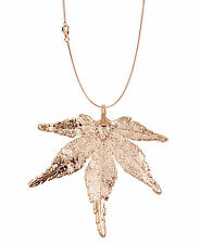 Zhannel Real Leaf PENDANT with Chain Japanese Maple in Rose Gold Leaf Necklace