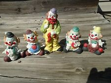 Vintage lot of Porcelain clowns figurines unmarked lot of 5