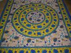 BLUE YELLOW COTTON FLORAL BEDSPREAD BED THROW WALL HANGING QUEEN/DOUBLE