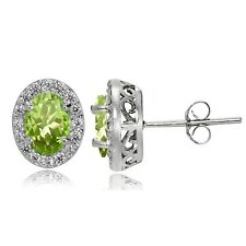 Sterling Silver Peridot and White Topaz Oval Halo Stud Earrings